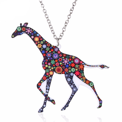 New Acrylic Floral Giraffe Animal Colourful Necklace Pendant Jewellery Gift Bag