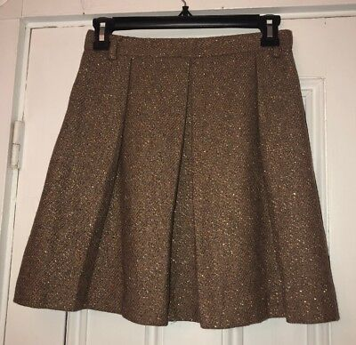 lands end girls brown wool Blend skirt with gold sparkles size 12 Lined