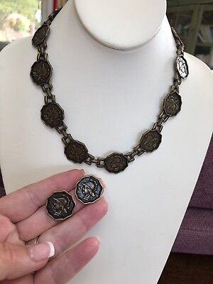 Vintage Greek Roman Soldier Coin Necklace And Earring Set Heavy Brass Tone