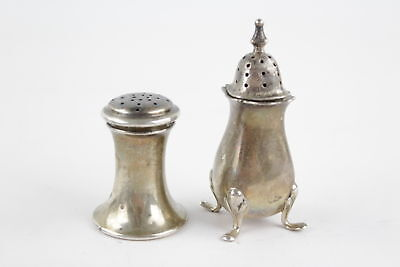 2 x Antique Birmingham Hallmarked Sterling Silver SALT/ PEPPER SHAKERS (44g)