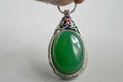 Collection Handwork Decor Miao Silver Carve Flower Inlay Jade Exorcism Pendant