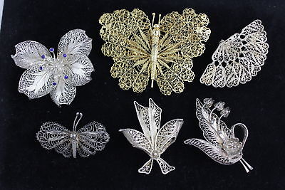 6 x Vintage .925 STERLING SILVER FILIGREE Brooches Inc. Butterfly (58g)