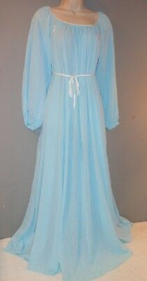 Vintage 1960s Blue Lingerie Gown Nightgown George Hatab