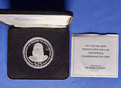 1974 Fiji Islands $25 Proof Silver Centennial Commemorative Coin w/ Box & COA