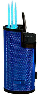 Triple Jet Torch Lighter Butane Refillable Windproof Flame w/ Cigar Puncher 477M