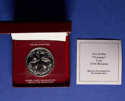 1976 Bahama Island $2 Proof Silver Flamingo Coin w/ original Box & COA