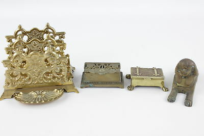 4 x Vintage Decorative BRASS Items Inc. Sphinx Inkwell, Letter Rack  (2164g)
