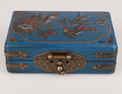 Blue Rare Leather Wood Jewelry Box Flowers Bird Magpie Embellishment Gift