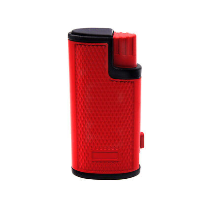 Triple Jet Torch Lighter Adjustable Windproof Butane Refillable /w Puncher Red 7