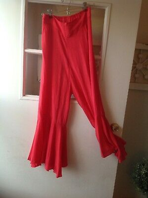 Vtg Red Silky pantaloons bloomers Petticoat Pants Lingerie Rockabilly Glam