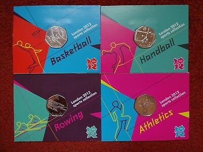 2012 London Olympic Games 4 X Coins on Official Royal Mint Sealed Cards.