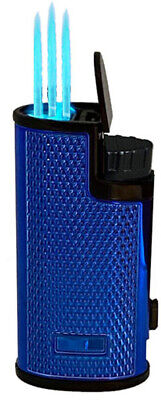 Triple Jet Torch Lighter Adjustable Windproof Butane Refillable /w Puncher BL 7
