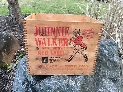 Vintage Johnnie Walker Red Label Scotch Whiskey Wood Wooden Box Crate