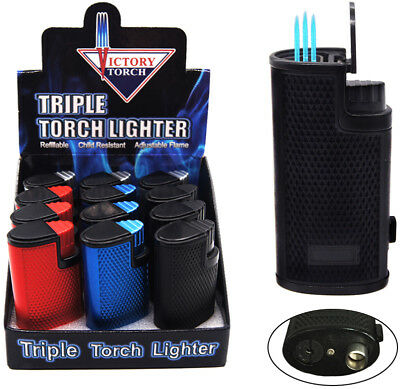 12 Triple Jet Torch Lighter Butane Refillable Windproof Flame  Cigar Cigarette 7