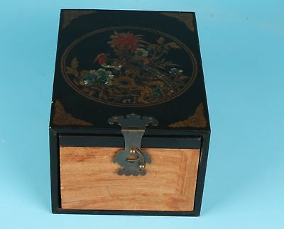 Black Chinese Leather Wood Jewelry Box Decorate Flower Bird Gift Dowry Mirrors