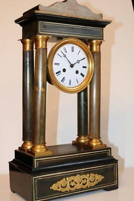 ANTIQUE FRENCH PORTICO CLOCK mid 19thC NEEDS PENDULUM bell striking