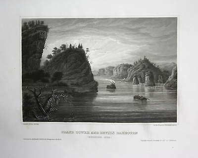 1840 Grand Tower Illinois Mississippi Amerika America Stahlstich steel engraving