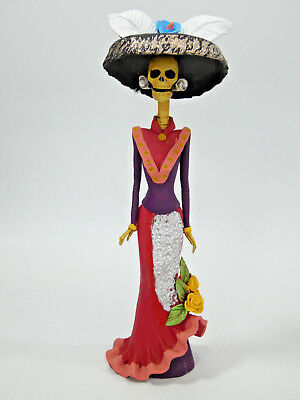 """BEAUTIFUL CATRINA, 100% handmade clay sculpture, mexican day of the dead 10"""""""