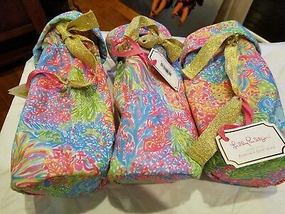Lilly Pulitzer Lot Wine Tote Bags Qty of 3 NWT Lovers Coral