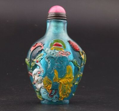 Vintage Chinese Coloured Glaze Snuff Bottles Old Hand Carved Post Mascot Gift