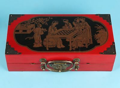 Vintage Chinese Red Leather Jewelry Box Board Collection Gift Game
