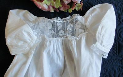 Antique Victorian Hand Made Cotton Christening Gown~French Lace~Pintucks