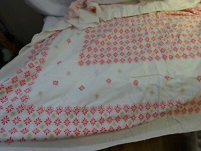 "Vintage 40s Mid Century Cotton Print Tablecloth PINK GEOMETRIC 53"" x 61"""
