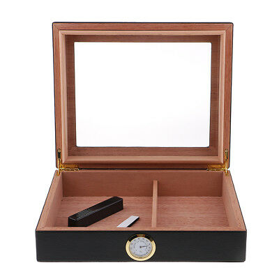 For 15-20 Cigars Humidor Case Box Spanish Cedar Glass Top for Collectibles