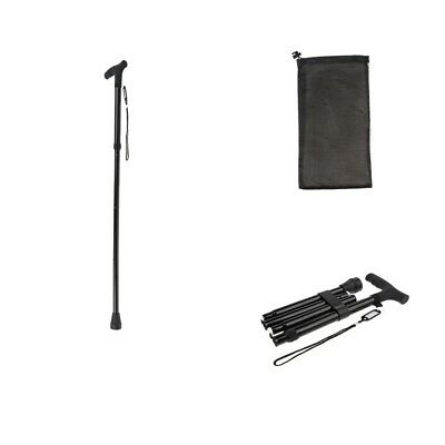 Travel Adjustable Folding Canes Collapsible Walking Stick w/ Drawstring Bag