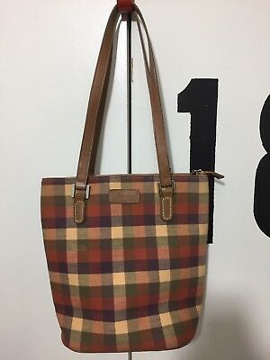 Longaberger Large Plaid Purse Tote Bag With Leather Straps