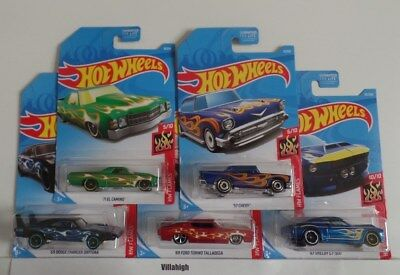 Hot Wheels 2019 HW Flames 5 Car Lot -El Camino 57 Chevy Charger Torino Shelby GT