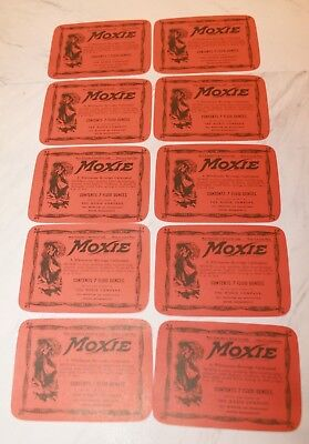 Moxie Soda-Lot of 10 Old 7 oz Labels-NOS,VERSION 1, NO Ingredients-New Low Price