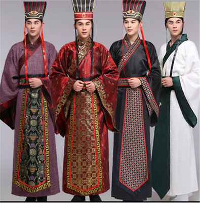 Chinese Clothing Emperor Prince Show Cosplay Suit Robe Hanfu Costume with Hat *