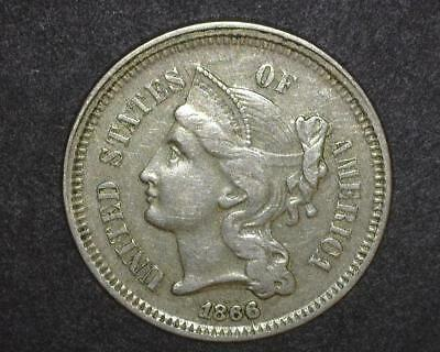 1866 THREE CENT NICKEL PIECE    VERY FINE-to-EXTREMELY FINE  35~386810-OS1214RO