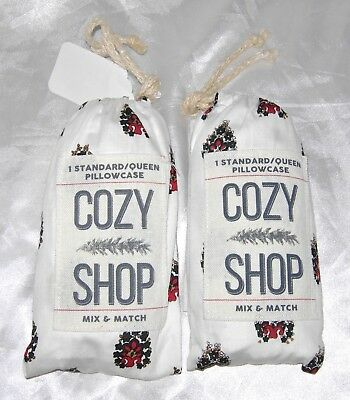 Cozy Shop Mix & Match 100% Cotton Standard Queen Pillowcase White Red Set 2 Pair