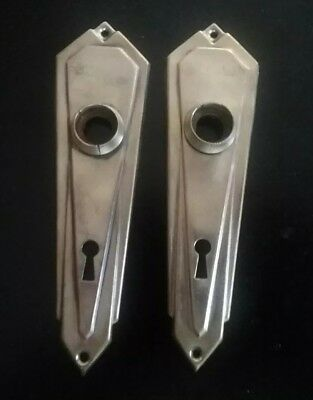 2 Antique Brass Key Hole Covers with Door Knob Hole Art Deco