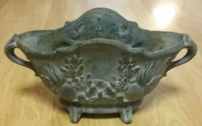 Antique French Cast Iron Urn Jardiniere Planter Floral Motif Footed Handles