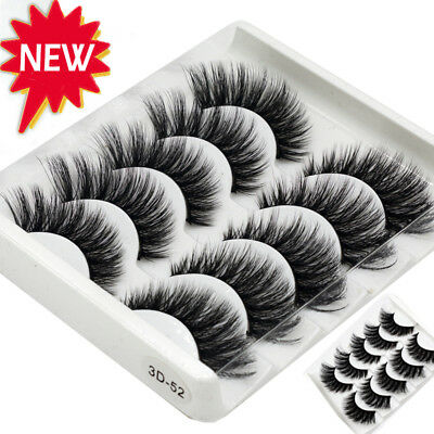 AU 5 Pairs 3D Mink False Eyelashes Wispy Cross Long Thick Soft Fake Eye Lashes