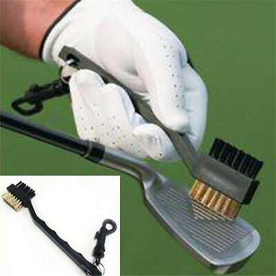 NEW 2 Sided Dual Bristles Golf Brush Club Shoe Bag Cleaning Clip Groove Black