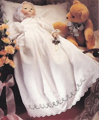 16 inch doll sewing pattern - Baby doll Christening gown, Bonnet, Petticoat