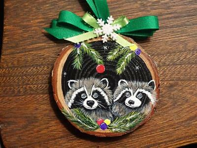 Hand Painted Raccoon Christmas Ornament Wood Slice Cabin
