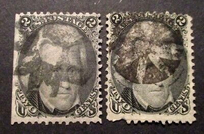 1861 US S# 73 2c Jackson Black Used Pair of stamps   2v