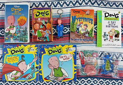 Vintage 90s Disney's DOUG Mixed Lot! VHS Tapes, Books, Toys, Etc. Nickelodeon