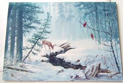 Vintage Christmas Card Deer at Stream with Snow by Cardinals in Tree Hallmark