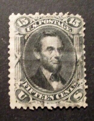 1866 US S# 77,  15c Lincoln, black Used Stamp
