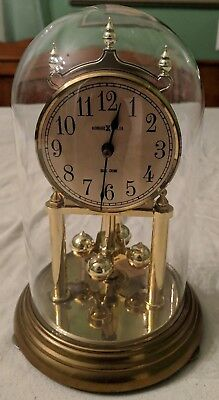 "Howard Miller 9"" Glass Dome DUAL CHIME Anniversary Mantle Clock West Germany"