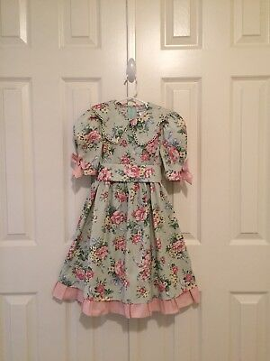 VTG - Floral On Light Green Background Dress - w/Skeeve Bows - size 4 -Note Flaw