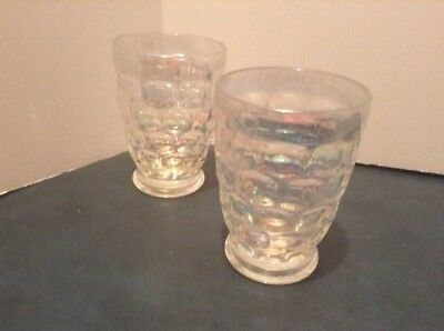 Set Of 2 Irredescent Federal Glass Juice Glasses