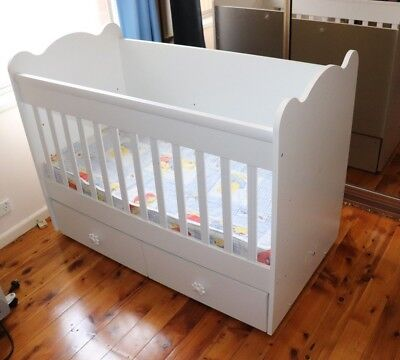 Unisex Sleigh Baby Cot Toddler Wooden Bed White with Mattress