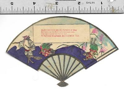 Japan Tea Syndicate Japanese Fan Die Cut 1880's Trade Card with Cats Illus